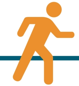 An inattentive pedestrian about to straddle a balance beam and make his nards ajar.